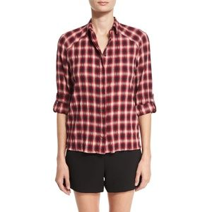 Alice + Olivia Glenna Red Plaid Roll Cuff Shirt XS